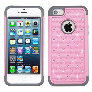 Insten Pink/ Gray Hard PC/ Silicone Dual Layer Hybrid Rubberized Matte Case Cover with Diamond For Apple iPhone 5/ 5S/ SE