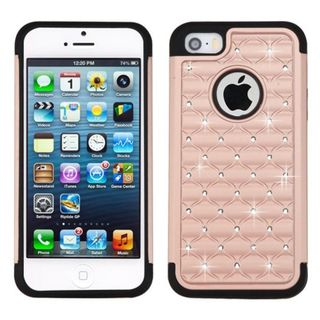 Insten Rose Gold/ Black Hard PC/ Silicone Dual Layer Hybrid Rubberized Matte Case Cover with Diamond For Apple iPhone 5/ 5S/ SE