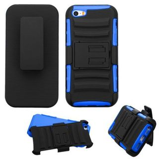 Insten Black/ Blue Hard PC/ Silicone Dual Layer Hybrid Case Cover with Holster For Apple iPhone 5/ 5S/ SE