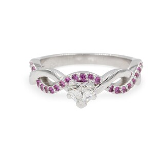 14k White Gold 1/2ct White Diamond and Pink Sapphire GIA Certified Infinity Engagement Ring