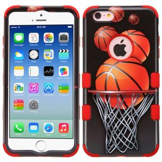Insten Black/ Orange Basketball Hoop Hard PC/ Silicone Dual Layer Hybrid Rubberized Matte Case Cover For Apple iPhone 6/ 6s