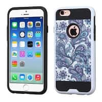 Insten Purple/ White European Flowers Hard PC/ Silicone Dual Layer Hybrid Rubberized Matte Case Cover For Apple iPhone 6/ 6s