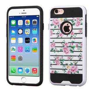Insten Pink/ White Fresh Roses Hard PC/ Silicone Dual Layer Hybrid Rubberized Matte Case Cover For Apple iPhone 6/ 6s