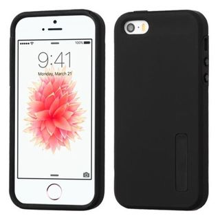 Insten Black Hard PC/ Silicone Dual Layer Hybrid Rubberized Matte Case Cover For Apple iPhone 5/ 5S/ SE