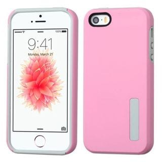 Insten Pink/ Gray Hard PC/ Silicone Dual Layer Hybrid Rubberized Matte Case Cover For Apple iPhone 5/ 5S/ SE
