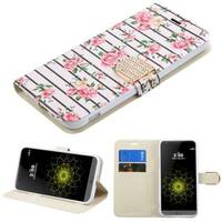 Insten Pink/ White Fresh Roses Leather Case Cover with Stand/ Wallet Flap Pouch/ Diamond For LG G5