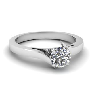 14k White Gold 1/2ct TDW White Diamond Solitaire GIA Certified Swirl Engagement Ring