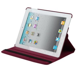 Insten Red Swivel Leather Case Cover with Stand For Apple iPad 2/ 3/ 4