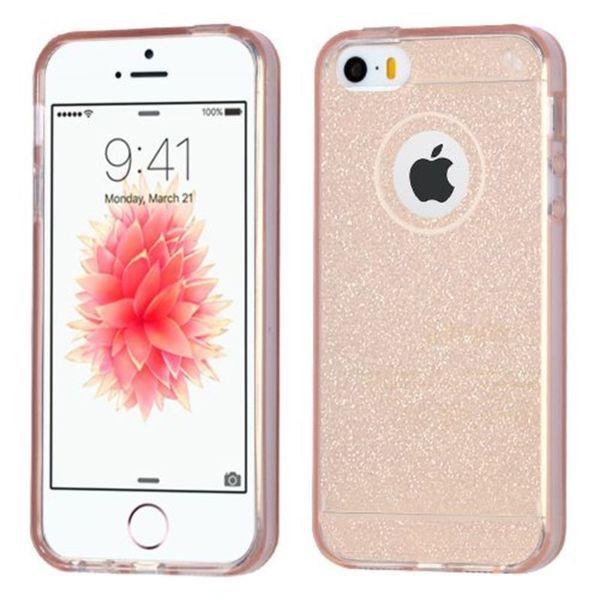 Insten Rose Gold Glittering TPU Rubber Candy Skin Glitter Case Cover For Apple iPhone 5/ 5S/ SE