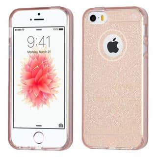 Insten Rose Gold Glittering TPU Rubber Candy Skin Glitter Case Cover For Apple iPhone 5/ 5S/ SE|https://ak1.ostkcdn.com/images/products/14113849/P20720213.jpg?impolicy=medium