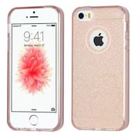 Insten Rose Gold Glittering TPU Rubber Candy Skin Glitter Case Cover For Apple iPhone 5/ 5S/ SE