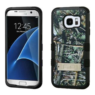 Insten Green/ Black Cedar Tree Tuff Hard PC/ Silicone Dual Layer Hybrid Case Cover with Stand For Samsung Galaxy S7 Edge