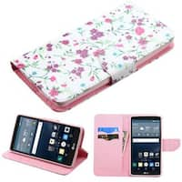 Insten Pink/ White Flowers Leather Case Cover with Stand/ Wallet Flap Pouch For LG G Stylo