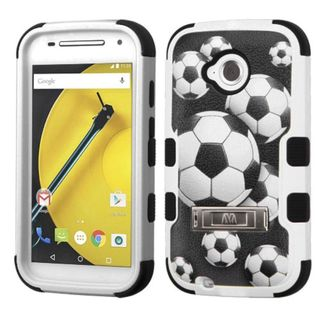 Insten Black/ White Soccer Ball Collage Tuff Hard PC/ Silicone Dual Layer Hybrid Case Cover For Motorola Moto E (2nd Gen)