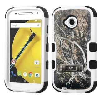 Insten Yellow/ Black Vines Tuff Hard PC/ Silicone Dual Layer Hybrid Case Cover with Stand For Motorola Moto E (2nd Gen)