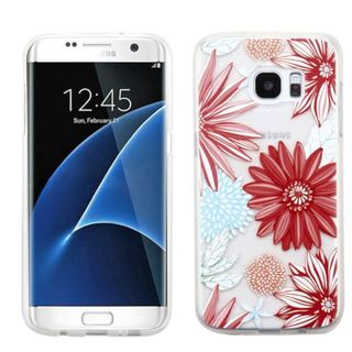 Insten Red Spring Daisies TPU Rubber Candy Skin Case Cover For Samsung Galaxy S7 Edge
