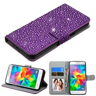 Insten Purple Leather Diamond Bling Case Cover with Stand/ Wallet Flap Pouch/ Photo Display For Samsung Galaxy Grand Prime