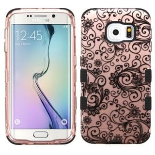 Insten Black/ White Four-leaf Clover Tuff Hard PC/ Silicone Dual Layer Hybrid Case Cover For Samsung Galaxy S6 Edge