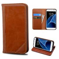 Insten Brown Leather Case Cover with Stand/ Wallet Flap Pouch For Samsung Galaxy S7