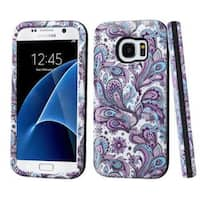 Insten Purple/ White European Flowers Hard PC/ Silicone Dual Layer Hybrid Rubberized Matte Case Cover For Samsung Galaxy S7