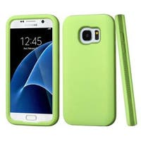 Insten Green Hard PC/ Silicone Dual Layer Hybrid Rubberized Matte Case Cover For Samsung Galaxy S7
