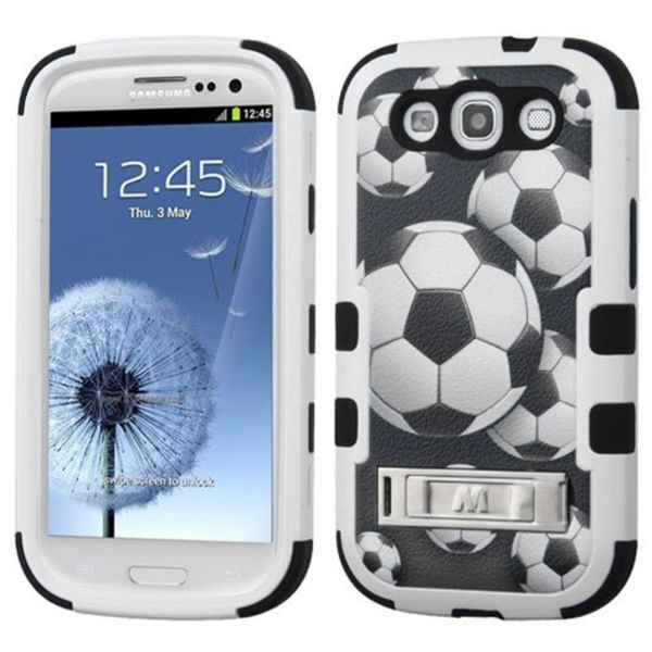 Insten Black/ White Soccer Ball Collage Tuff Hard PC/ Silicone Dual Layer Hybrid Case Cover with Stand For Samsung Galaxy S3