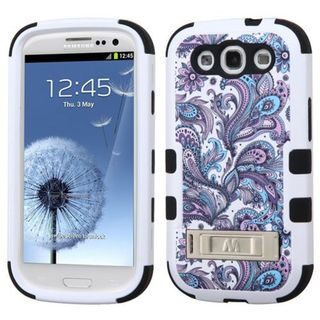 Insten Purple/ White European Flowers Tuff Hard PC/ Silicone Dual Layer Hybrid Case Cover with Stand For Samsung Galaxy S3