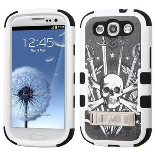 Insten Black/ White Sword  Skull Tuff Hard PC/ Silicone Dual Layer Hybrid Case Cover with Stand For Samsung Galaxy S3