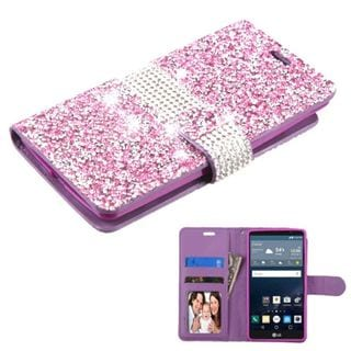 Insten Purple/ Silver Leather Diamond Bling Case Cover with Wallet Flap Pouch/ Photo Display For LG G Stylo