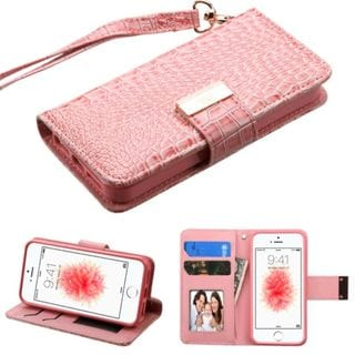 Insten Pink Leather Crocodile Skin Case Cover Lanyard with Stand/ Wallet Flap Pouch/ Photo Display For Apple iPhone 5/ 5S/ SE