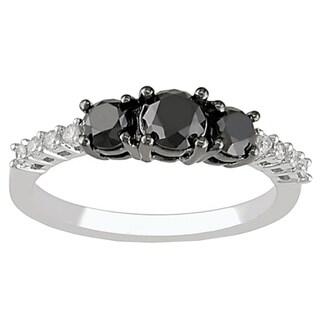 14k Gold 1ct TDW Black and White Round Diamond 3-stone Engagement Ring (I-J, I1-I2)