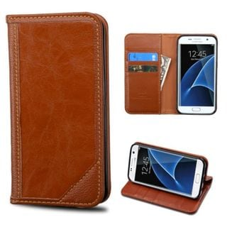Insten Brown Leather Case Cover with Stand/ Wallet Flap Pouch For Samsung Galaxy S7 Edge