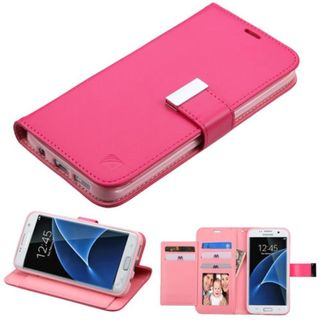 Insten Hot Pink Leather Case Cover with Stand/ Wallet Flap Pouch/ Photo Display For Samsung Galaxy S7 Edge