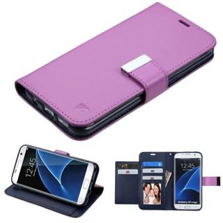 Insten Purple Leather Case Cover with Stand/ Wallet Flap Pouch/ Photo Display For Samsung Galaxy S7 Edge