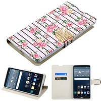 Insten Pink/ White Fresh Roses Leather Case Cover with Stand/ Wallet Flap Pouch/ Diamond For LG G Stylo
