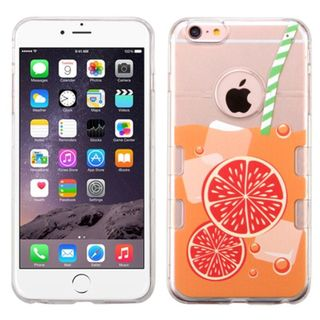 Insten Clear/ Orange Orange Soda TPU Rubber Candy Skin Case Cover For Apple iPhone 6 Plus/ 6s Plus