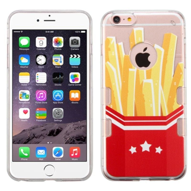 Insten Red/ Yellow French Fries TPU Rubber Candy Skin Cas...