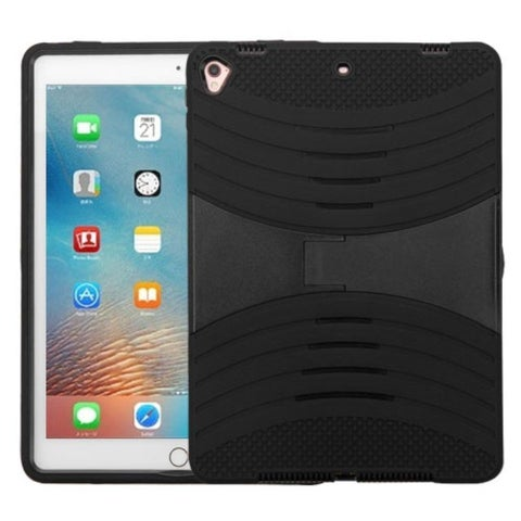 Insten Black Soft Silicone/ PC Dual Layer Hybrid Rubber Case Cover with Stand For Apple iPad Pro 9.7-inch
