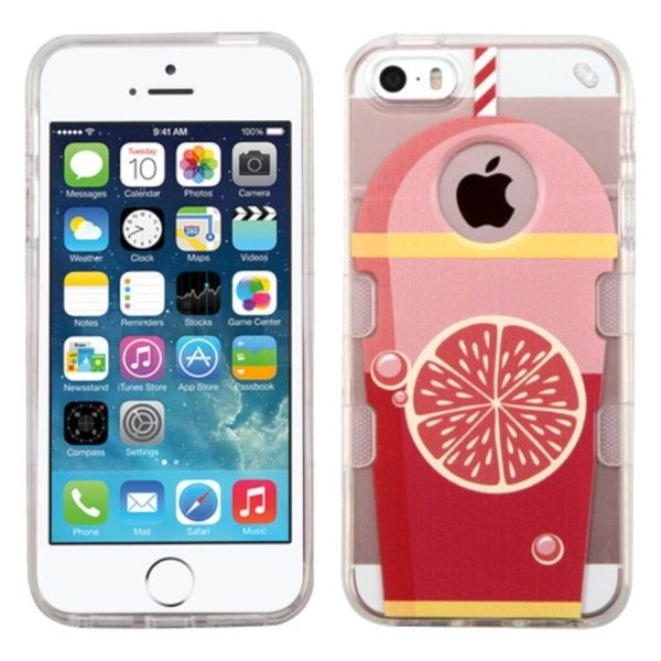 Insten Clear/ Red Grapefruit Soda TPU Rubber Candy Skin Case Cover For Apple iPhone 5/ 5S/ SE