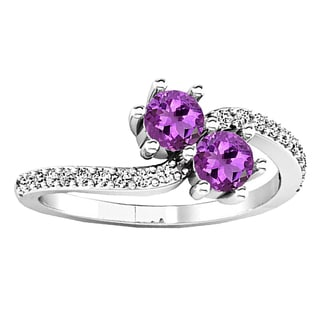 14k Gold 5/8ct TGW Round Amethyst and Diamond Forever Together 2-stone Engagement Ring (I-J, I2-I3)