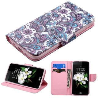 Insten Purple/ White European Flowers Leather Case Cover with Stand/ Wallet Flap Pouch For LG K7/ K8