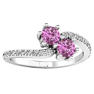 14k Gold 5/8ct TGW Pink Sapphire and Diamond Forever Together Engagement Ring (I-J, I2-I3)