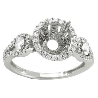 18k White Gold 3/4ct TDW Round Diamond Semi Mount Bridal Ring (I-J, I1-I2)