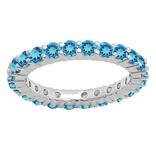 14k Gold 1ct TGW Round-cut Blue Topaz Eternity Wedding Stackable Band
