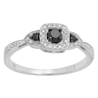 10k Gold 1/3ct TDW Round Black and White Diamond 3 Stone Vintage Bridal Engagement Ring (I-J, I2-I3)