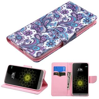 Insten Purple/ White European Flowers Leather Case Cover with Stand/ Wallet Flap Pouch For LG G5