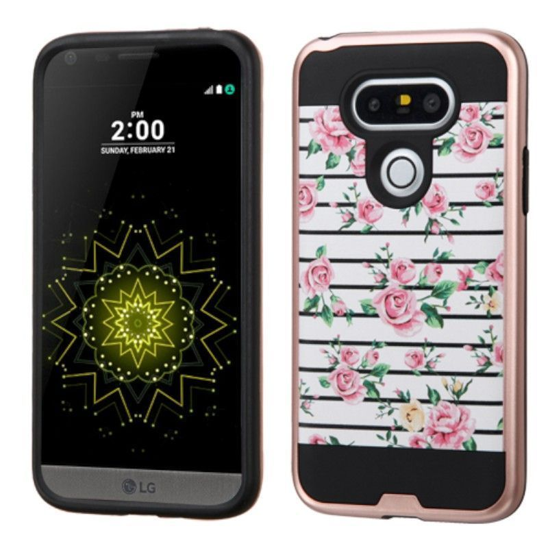 Insten Pink/ White Fresh Roses Hard PC/ Silicone Dual Lay...
