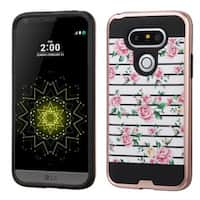 Insten Pink/ White Fresh Roses Hard PC/ Silicone Dual Layer Hybrid Rubberized Matte Case Cover For LG G5
