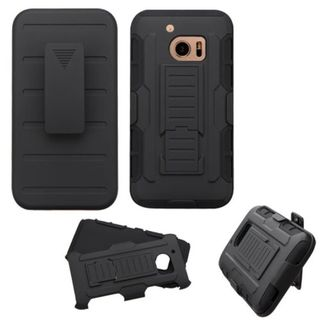 Insten Black Car Armor Hard PC/ Silicone Dual Layer Hybrid Case Cover with Holster For HTC One M10