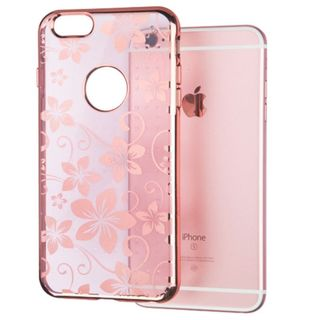 Insten Rose Gold Hibiscus Flower Romance TPU Rubber Candy Skin Case Cover For Apple iPhone 6 Plus/ 6s Plus